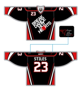 5a024df49 Break Dance Not Hearts jersey. Round Yoke, v-neck (J0), style 221, Wheat  Kings Graphics black, red, white. Fully Custom Sublimated Hockey Jerseys by  Magnum