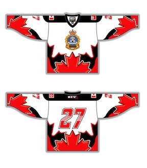 286a0565f CFB Kingston Jersey (Canadian Military), Flags, Round Yoke, v-neck (J0),  style 221, Nashville Numbers Maple graphics (RJS508), white, red, black, ...
