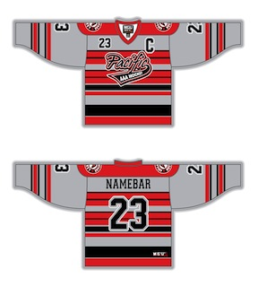 a6f358c37 Grey, Red, Black, White, Almonte Jr Sharpshooters style. Fully Custom  Sublimated Hockey Jersey by Magnum